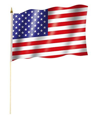 Sportfanshop24 Stockflagge/Stockfahne USA/VEREINIGTE STAATEN Flagge/Fahne ca. 30 x 45 cm mit ca. 60cm Stab/Stock