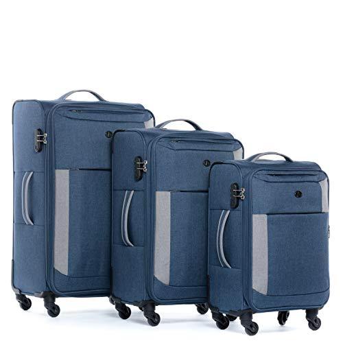 FERGÉ Kofferset Weichschale 3-teilig erweiterbar Saint-Tropez Trolley-Set - Handgepäck 55 cm, L und XL 3er Set Stoffkoffer Roll-Koffer 4 Rollen Stretch-Flex grau