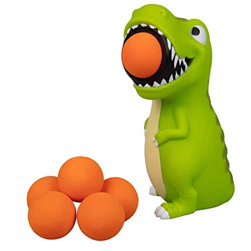 Hog Wild T-Rex Dinosaur Popper Toy - Shoot Foam Balls Up to 20 Feet - 6 Balls Included - Age 4+