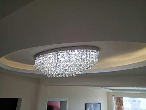 CXMM Modern ovaal rechthoekig kristallen kroonluchter Raindrop plafondlampen voor inbouw in inbouwlamp asdfgdssd