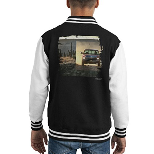 Martyn Goddard Official Photography Dodge Truck Distressed Edge Dusty Road Kid's Varsity Jacket