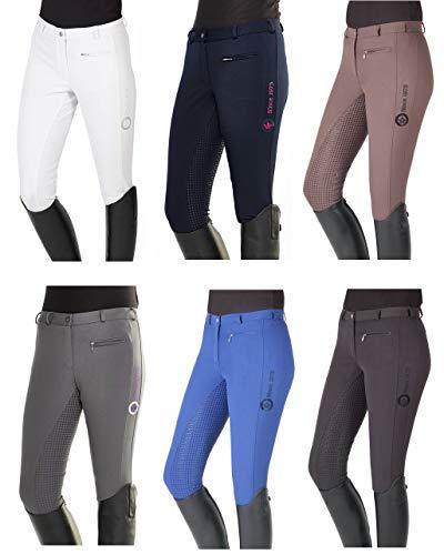 PFIFF Damskie spodnie jeździeckie - Yasmin - silikonowe paski bryczesy do jazdy konnej niebieski średni niebieski 46