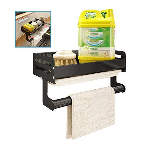 Wand-Küchenablaufregal Küchenregal Mit PP-Auffangschale Waschbeckenschwamm-Aufbewahrungsregal Waschlappenaufhänger Aluminium L23.5X B12.5X H13.5cm