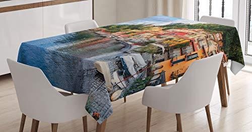 ABAKUHAUS Italiaans Tafelkleed, Yacht Boat Idyllische Town, Eetkamer Keuken Rechthoekige tafelkleed, 140 x 170 cm, Veelkleurig