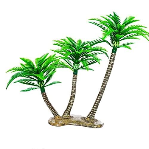 ifundom Macetas de Plantas en Miniatura con Paisaje de Mini Cocoteros Y Cocoteros de Plástico Bonsái para La Decoración del Acuario del Hogar de La Torta de La Pecera ( 1 Pieza )