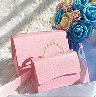 高品質の幅紙チューブボックス 携帯用結婚式のパーティーの好意ボックスチョコレートの御馳走のリボン付きキャンディーボックスの結婚式のブライダルシャワーベビーシャワーの誕生日 (Color : A, Gift Box Size : 120X70X80 mm)