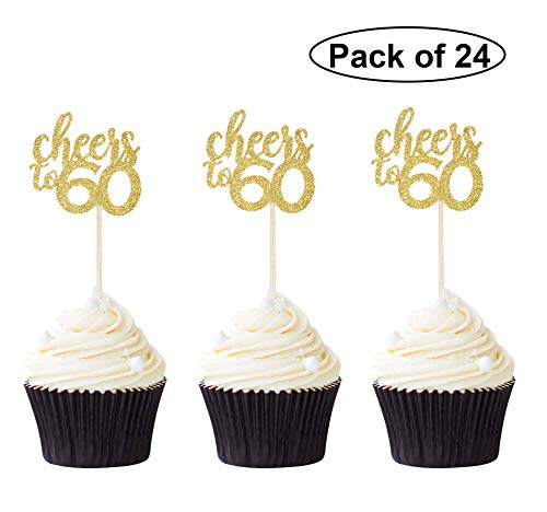 Pack of 24 Cheers to 60 Cupcake Toppers Gold Glitter 60th Birthday Cupcake Picks Anniversary Party Decors