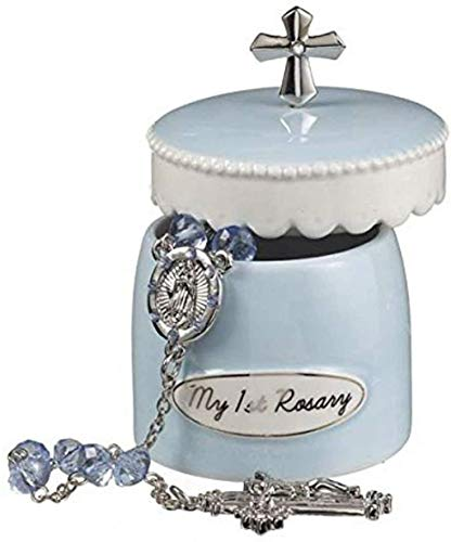 Blue My First Rosary for Boy Elegant Ceramic Keepsake Box from Grasslands Road