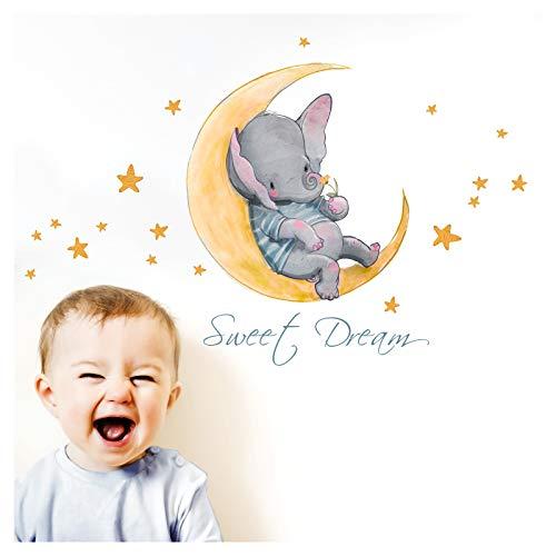 Little Deco Adhesivo decorativo para pared con diseño de elefante y luna I S – 30 x 50 cm (ancho x alto), para habitación de los niños y bebés, DL146