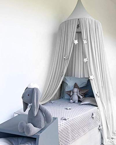 Bed Canopy, Dyna-Living Dome Tent Room Decorate W/Assembly Tools for Boys Girls Reading Playing Indoor Game House, Height-90 inch (Grey)
