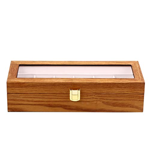 Hemobllo Watch Storage Organizer Wood Watch Box Executive 6 Slot Watch Case with Pillow Watch Display Case Jewelry Holder Storage Case for Women Men Accessories Organizer