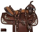 Acerugs Beautiful Western Pleasure Trail Barrel Racing Show Horse Saddle Free TACK Set PAD Silver Crystals (Brown, 18)
