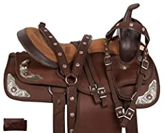Color: Brown Soft padded seat Free Headstall, reins, Breast Collar Soft fleece underside eliminates pressure points. Strong double reinforced fiberglass tree.