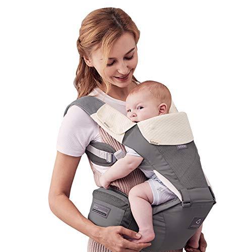 Bebamour Babytrage für 0-36 Monate, 3D Air Mesh Babytrage Rucksack für Neugeborene bis Kleinkinder, nach Sicherheitsstandard zugelassen, ergonomischer Baby-Hüftsitz 6 in 1 Fronttrage (Grey)