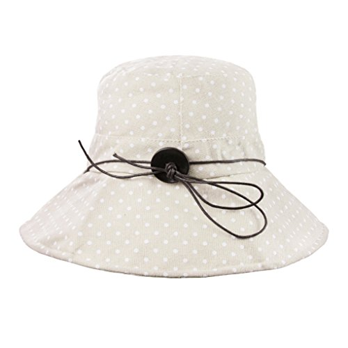 FakeFace Damen Hut Kappe Sonnenhut aus Baumwolle Sonnenschutz Strandhut Verstelltbare Hüte Kappe Anti-UV BEIGE