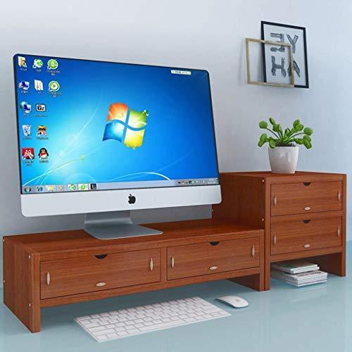 GZLL 2 Tier Monitorständer Riser, Laptop Riser Computer-Schreibtisch mit Schubladen, Holzmonitorständer mit 4 Speichern-Organisatoren Schubladen, for Laptop-Computer-Basis (Farbe : Braun)