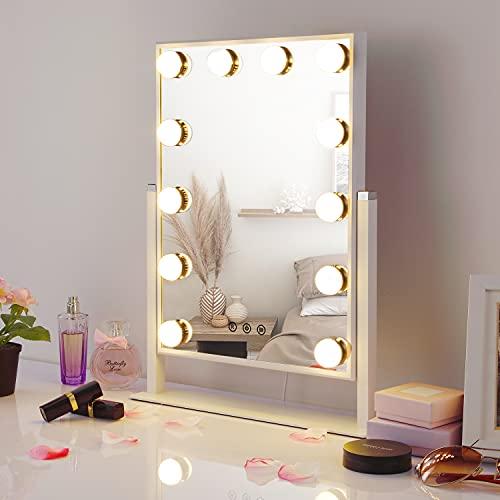 HAMSWAN Hollywood Spiegel mit Beleuchtung, 12 Dimmbare LED, 3 Farbe Licht Umwandlung, 360° Drehbar Schminkspiegel Kosmetikspiegel mit Licht