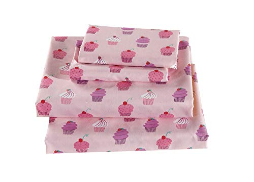 Linen Plus Sheet Set for Girls /Teens / Adults Cupcakes Pink White Lavender Flat Sheet Fitted Sheet and Pillow Cases Full Size New