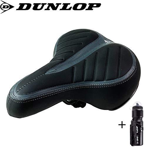 FineHome Dunlop | Cityrad | Touring Gelsattel | Fahrradsattel | Cityradsattel gefedert | Stoßresistenter weicher Gelsattel | Komfortsattel schwarz | + Dunlop Trinkflasche
