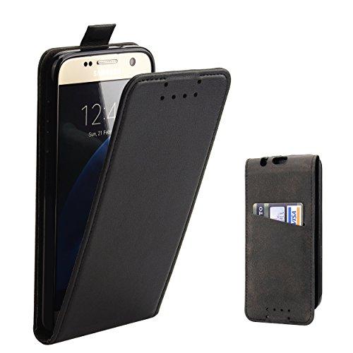 Supad Galaxy S7 Hülle, Leder Tasche für Samsung Galaxy S7 Handyhülle Flip Case Schutzhülle (Schwarz)