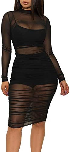 Women s Sexy Mesh See Through Dresses Long Sleeve Midi Bodycon Party Club Dress 3 Piece Outfits product image
