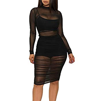 Women s Sexy Mesh See Through Dresses Long Sleeve Midi Bodycon Party Club Dress 3 Piece Outfits with Vest Shorts Black S