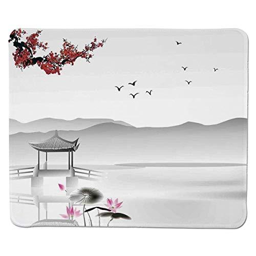 [Asiatisches Dekor, japanischer Garten im asiatischen Stil mit Vogel und kleinem Pavillon über der Lotussee-Seerose, grau-rosa-rot] Genähter, rutschfester Gummi