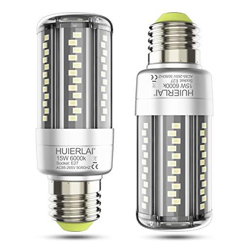 E27 LED 15W Mais Birne Led E27 Kaltweiß 6000K 1700LM Entspricht Glühbirnen 120W, Edison Schraube E27 Maiskolben Led Birnen E27 Led Lampen Led Energiesparlampe E27 Nicht Dimmbar, 2er-Pack