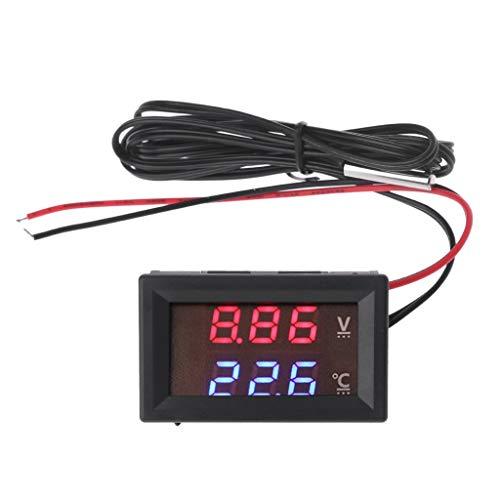 Meiqqm Digitales Thermometer, 12V / 24V LED-Anzeige Autospannung & Wassertemperaturanzeige Voltmeter Thermometer
