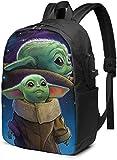 Baby Yoda Mochila Estudiante Bolsa con Puerto de Carga USB, Bolsa de Viaje de 17 pulgadas