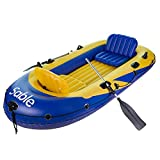 Sable 4-Person Inflatable Boat Set with Aluminum Oars and Air Pump, Fishing Boat with Rod Holders, Inflatable Raft for Fishing, Cruising, or Pool Leis