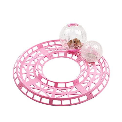 Hamsterbaan 4 Stuks, Hamster Jogging Sport Ballenbaan Afneembare Doe-Het-Zelf Hamsterrenbaan Om Meer Activiteiten Te Doen Plastic Hamster Ballenbaan Huisdier Speelgoed,Roze