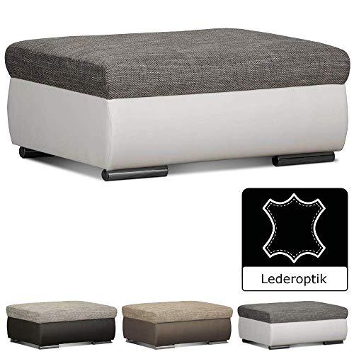 CAVADORE Couch Hocker Leriot / Polsterhocker im modernen Design / Sitzhocker, Fußhocker mit Strukturstoff und Kunstleder / 95 x 42 x 72 cm (BxHxT) / weißgrau