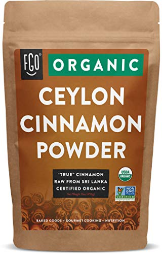 Organic Ceylon Cinnamon Powder | Perfect for Baking, Cooking & Smoothies | 100% Raw from Sri Lanka | 16oz/453g Resealable Kraft Bag | by FGO