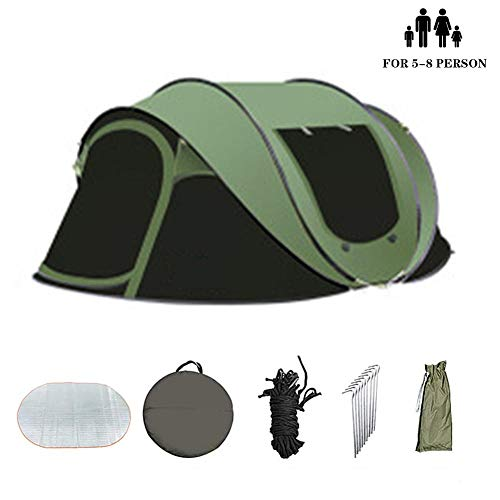 N/B Camping Tents - Automatic Pop Up Tent 5-8 Men, Portable Folding Outdoor Quick-Opening Beach Tents 100% waterproof Anti UV for Easy to Set up-green_280X200X120cm