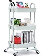 Kingrack Wózek do przechowywania, wózek na kółkach 3-poziomowy, uniwersalny organizer do przechowywania, organizer wózek z uchwytami, wózek do przechowywania z zamkami kółkami, wózek użytkowy, wózek do podawania do kuchni i łazienki