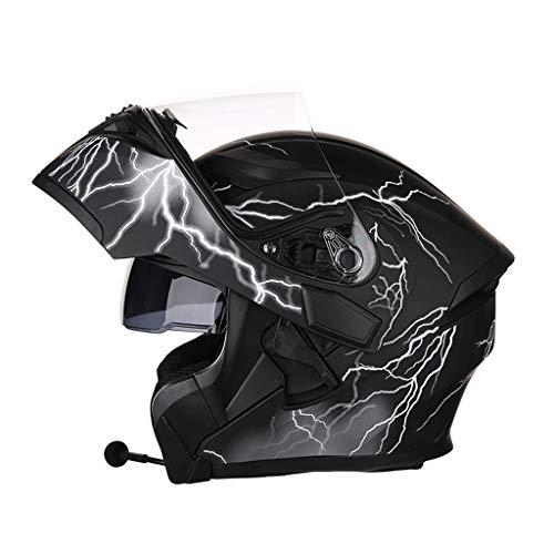 OUTO Descubrimiento Casco Motocicleta Montar al Aire Libre Bluetooth Auricular HD Espejo antivaho Casco Integral Hombres y Mujeres Personalidad Fresca (Color : Black Lightning, Tamaño : XXXL)