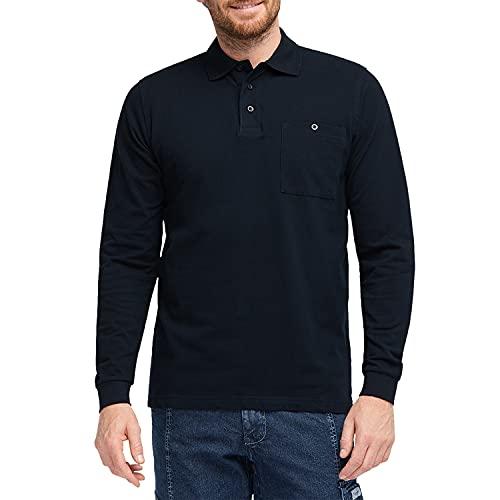 Pionier Workwear Herren Poloshirt Langarm mit Ärmelbündchen | dreifach Knopfleiste in Shirtfarbe | Baumwoll-Piqué, Normale Passform | Brusttasche Links mit Knopfverschluss | Polohemd Marine blau L