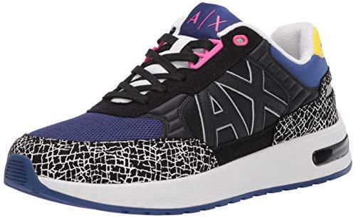 A|X Armani Exchange Herren Bold Color Mid Top Lace Up Sneaker Turnschuh, Schwarz+Sodalit, 39.5 EU