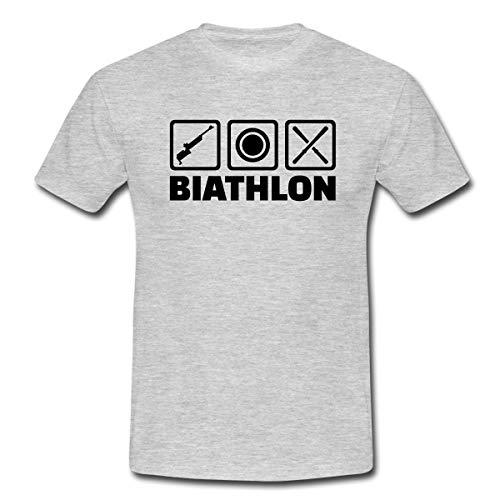 Biathlon Piktogramme Gewehr Zielscheibe Ski Männer T-Shirt, XL, Grau meliert
