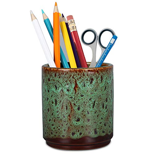 Teagas Retro Desk Pencil and Pen Holder Ceramic Glaze Pen Cup Makeup Brush Holder Creative Desk Organizer Forest Green
