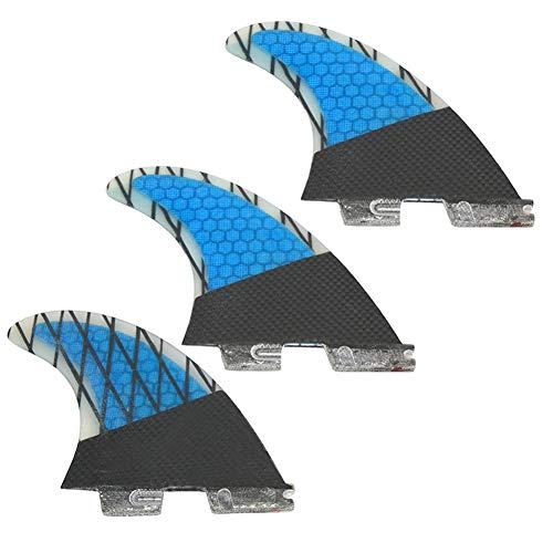 DEWIN Aletas de Tablas de Surf - Aletas de Cola de Tablas de Surf de Fibra de Vidrio G7 de 3 Piezas con Negro y Azul