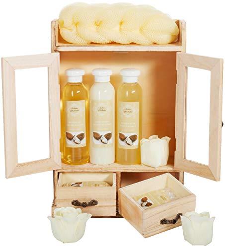 BRUBAKER Cosmetics Bade- und Pflegeset Sheabutter im Holzschrank