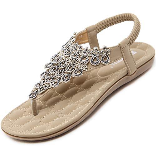 Sommer Flache Bohemian Zehentrenner Sandalen Damen mit Weiche Fußbett Elegant Flip Flops Frauen Outdoor Freizeit Strand Schuhe Beige 40 EU = Herstellergröße 41