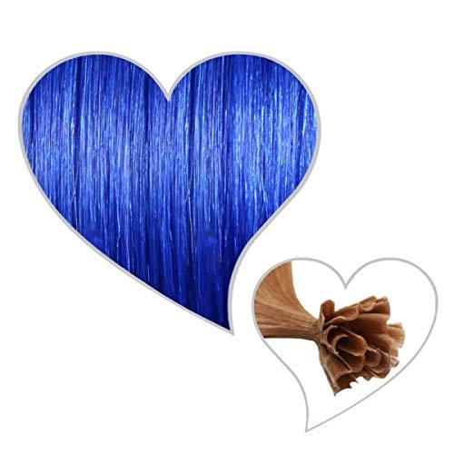 GLOBAL EXTEND® 25 Strähnen mit Keratinbondings Echthaar blau #blau 60 cm Remy Human Hair Extensions Haarverlängerung Haarverdichtung U-Tip Keratin Bondings 1 Gramm Haarsträhnen 1g