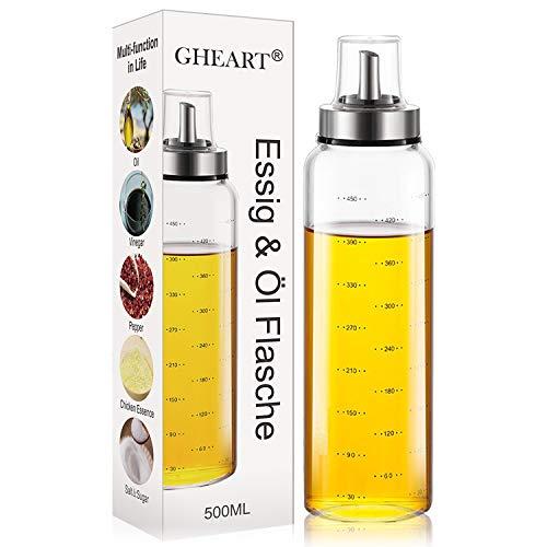 GHEART Essig & Ölflasche, Ölspender aus Edelstahl und Glas Olivenöl Flasche Behälter für BBQ, Kochen, Grillen, Pasta, Auslaufsicher und Spülmaschinenfest (500ML)