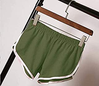 BEESCLOVER Women Short Pants Casual Ladies Loose Solid Soft Leisure Female Workout Waistband Skinny Stretch Short All-Match Green L
