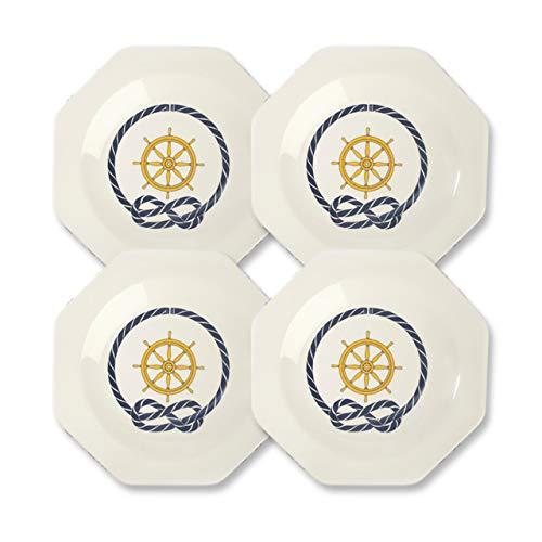 CARTAFFINI SRL - Plato hondo Timón octogonal de melamina, 22 x 22 cm - Juego de 4 piezas - Color: blanco marfil