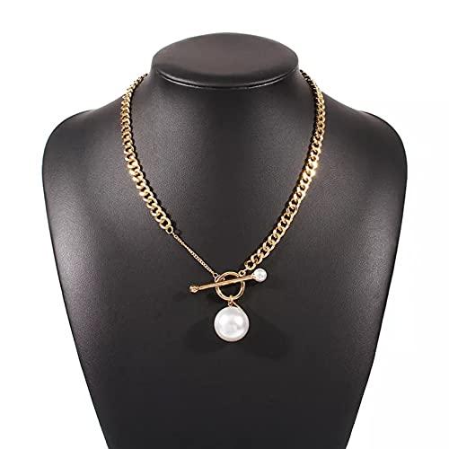QiuYueShangMao Colgante de Collar Collar de Cadena de eslabones Gruesos Vintage Punk OT Hebilla Collar con Colgante de Perlas para Mujeres joyería de Compromiso de Boda Femenina Regalo para Ella