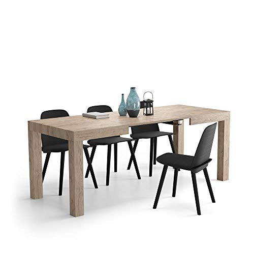 MOBILI FIVER, Table Extensible Cuisine, First, Couleur Chêne Naturel, 120 x 80 x 76 cm, Made in Italy